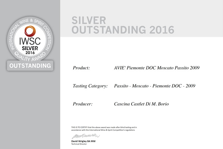 International Wine & Spirit Competition Silver 2016 - Aviè 2009.